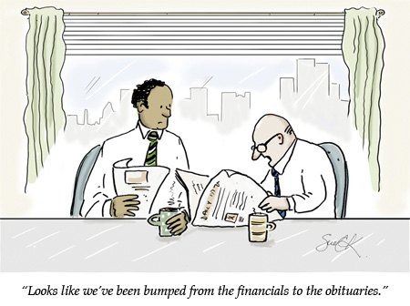 business cartoon two businessmen at a table reading the financial newspaper